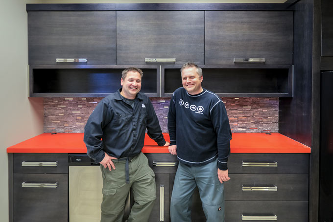 Owners Joe Daschbach and Joel Schellhase in our facility's kitchen.