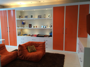 Orange Built-In Closet
