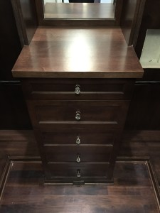 Wilmette. The master drawers are in a solid wood with a shaker ogee style face. The other room is Euro Slab doors with a solid wood face 2